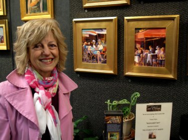 "Nancy Fabrizio and her ""Café In Montmartre""  SOLD"