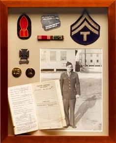 War medals, patches, and letters home.