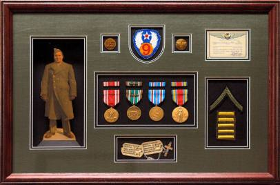 MILITARY MEDALS, PHOTO, CHEVRON AND DOG TAGS